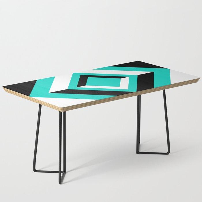Teal Black and White Diamond Shapes Digital Illustration - Artwork Coffee Table