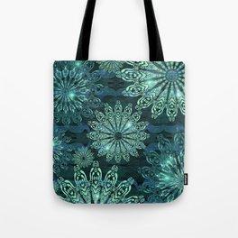 Aqua Green Snowflake Sparkle Tote Bag