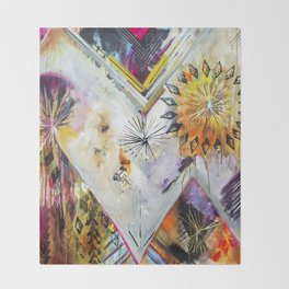 """Burn Bright"" Original Painting by Flora Bowley Throw Blanket"