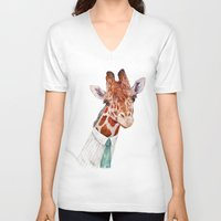 toddler V-neck T-shirts featuring Mr Giraffe by Animal Crew