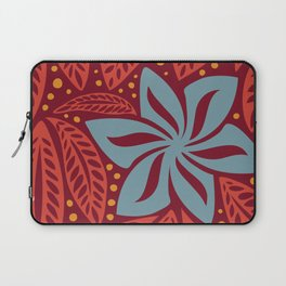 Hawaiian Polynesian Red Blue Floral Tattoo Laptop Sleeve