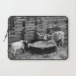Two Longhorn Cows in the Stockyards - Fort Worth, TX Laptop Sleeve
