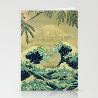 asian Stationery Cards featuring The Great Blue Embrace at Yama by Kijiermono