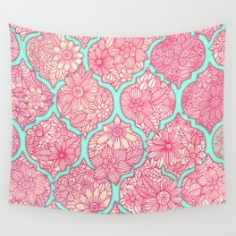 Moroccan Floral Lattice Arrangement in Pinks Wall Tapestry