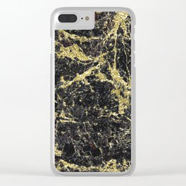 Marble - Glittery Gold Marble on Black Design Clear iPhone Case