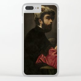 """Tintoretto (Jacopo Robusti) """"Portrait of a Man as Saint George"""" Clear iPhone Case"""
