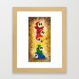 A Rainbow of Shy Guys Framed Art Print