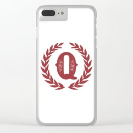 Rustic Red Monogram: Letter Q Clear iPhone Case