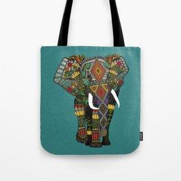 floral elephant teal Tote Bag
