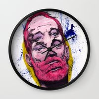 bill murray Wall Clocks featuring Bill Murray by Astrosim