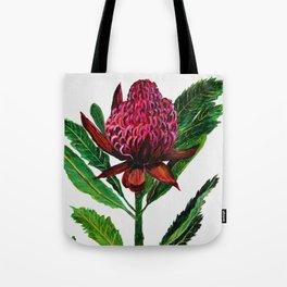 Red Flowers Floral Waratah Protea, botanical Tote Bag