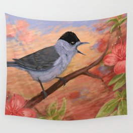 Blackcap in spring Wall Tapestry