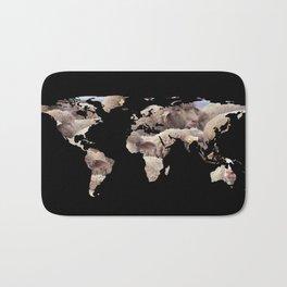 World Map Silhouette - Sheep Herd Bath Mat