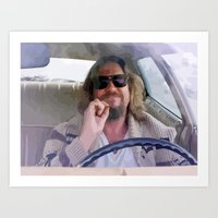 lebowski Art Prints featuring Lebowski  by Swift Sloth