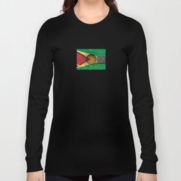 Old Vintage Acoustic Guitar with Guyanese Flag Long Sleeve T-shirt