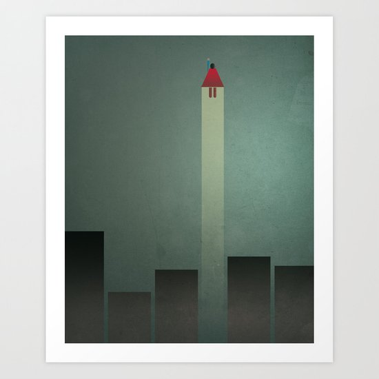 Smooth Minimal - Flying man Art Print