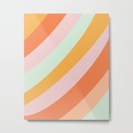 Summer Sorbet Pastel Curved Stripes Metal Print