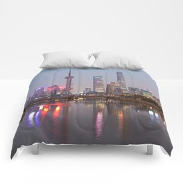 Shanghai sunset with Waibaidu Comforters