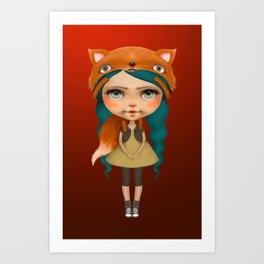 Happy doll with fox Art Print