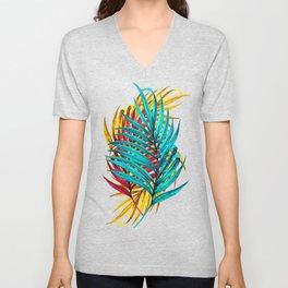 Colorful Palm Leaves Unisex V-Neck