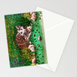 Cat in Flower Garden Stationery Cards