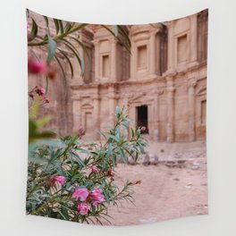 The Monastery Petra Jordan with Flowers Wall Tapestry