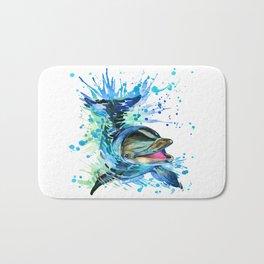 Watercolor Dolphin Bath Mat