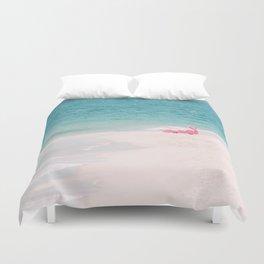Pink Flamingo Beach Duvet Cover