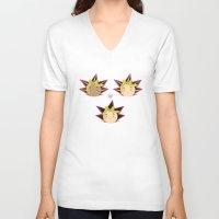 yaoi V-neck T-shirts featuring Atem x Yami Yugi x Yugi by Violet's Corner