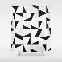 Mid-Century Modern Pattern No.11 - Black and White Shower Curtain