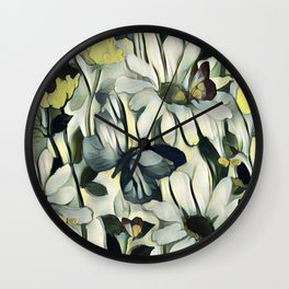 Spring Delight - Flowers And Butterflies Wall Clock
