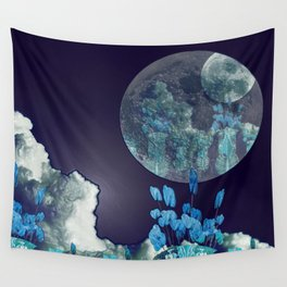 Moon with Clouds and Flowers Still Life Landscape Wall Tapestry