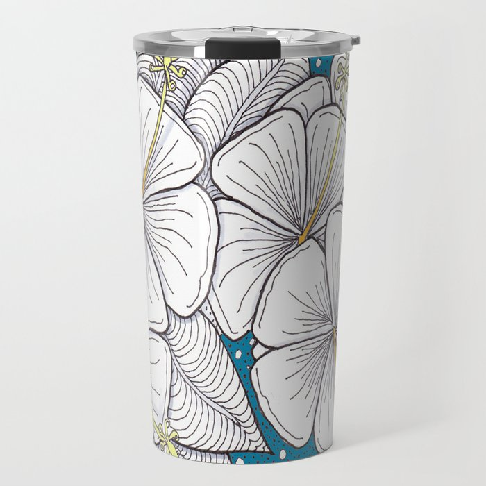Zentangle Blue and Gold Hibiscus Blossoms for Flower Lovers Travel Mug