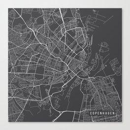 Copenhagen Map, Denmark - Gray Canvas Print
