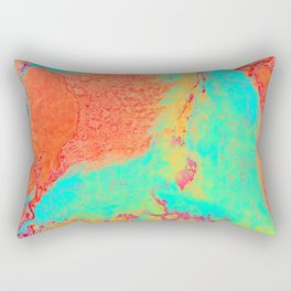 Marble Pattern - Neon Green and Orange Marble - Bright Colors Rectangular Pillow