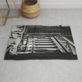 Wall Street, Stock Exchange, New York, New York black and white photograph Rug