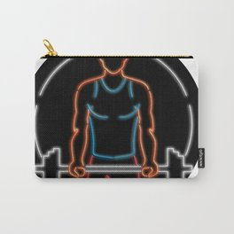 African American Athlete Lifting Barbell Oval Neon Sign Carry-All Pouch