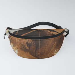 abstract mountains, rustic orange sunrise Fanny Pack