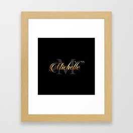Name and initial of a girl Michelle in golden letters Framed Art Print