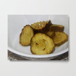"""Mom, there is a face in my pickles!"" Metal Print"