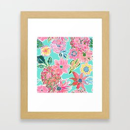 Fun Bright Whimsical Preppy Floral Print / Pattern Framed Art Print
