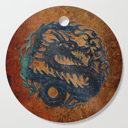 Blue Chinese Dragon on Stone Background Cutting Board