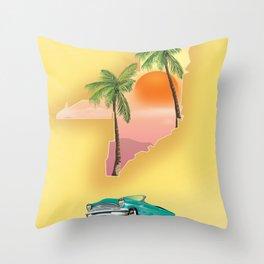 Miami Florida Vacation poster. Throw Pillow