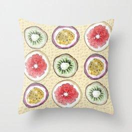 Round Fruits painting: kiwi, passionfruit, grapefruit Throw Pillow