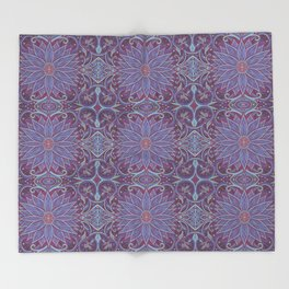 """Lavender lotus"" floral arabesque pattern Throw Blanket"