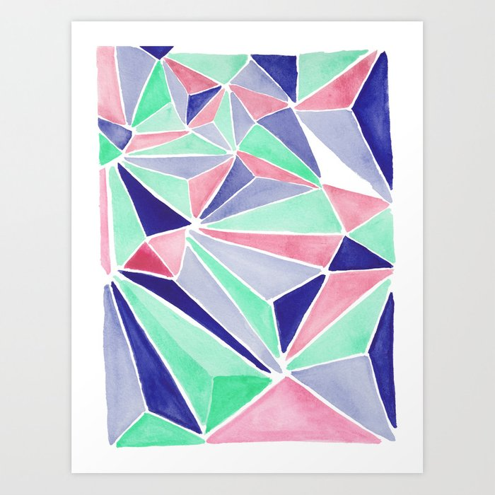 Watercolor colorful mint triangles. Watercolor geometry 3D effect. Art Print