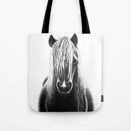 Horse Black and White Painting Tote Bag
