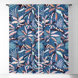 Exotic Wilderness on Blue / Panthers and Plants Blackout Curtain