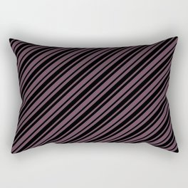 Eggplant Violet and Black Diagonal RTL Var Size Stripes Rectangular Pillow