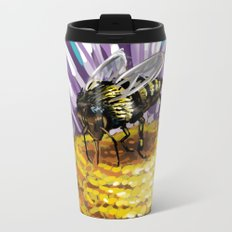 Wasp on flower 3 Metal Travel Mug